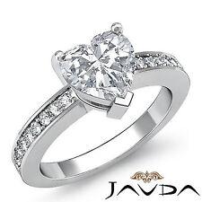 Lustrous Heart Diamond Pre-Set Engagement Ring GIA H SI1 14k White Gold 1.25 ct