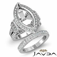 Diamond Engagement Ring Marquise Bridal Sets 14k Gold White Halo Setting 4Ct