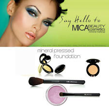 Mica Beauty Mineral Pressed Foundation MF-6 + 2 Brushes+ Eye Shimmer In Pink