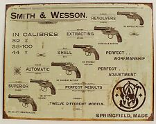 SMITH & WESSON REVOLVERS METAL SIGN Gun Pistol NEW Springfield MA Repro Vintage