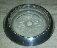 Awesome antique Frank whiting Sterling Silver and etched glass coaster