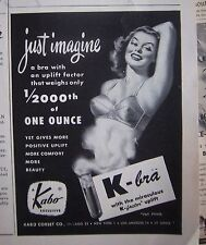 1948 Vintage Womens Kabo K-Bra Just Imagine Uplift Factor Weighs  less Ounce Ad