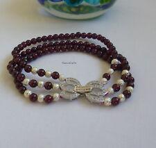 Certified genuine 4A grade rose 3layers 4mm garnet in silver bracelet, gemstone
