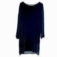 CP SHADES M Dress Black Velvet Silk Blend Long Sleeve Midi Shirt Shift Dress