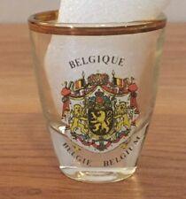Belgique Belgie Belgium shot glass ... gold trim rim