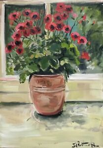 Vintage style Floral print A4 A3 gloss of matte finish Pelargoniums terracotta
