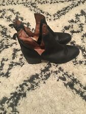 Jeffrey Campbell O'Riley Black Leather Cutout Side Slit Ankle Booties Boots Sz 8