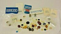 Vintage Buttons Small Mixed Lot 2.7 Oz. NOS Lands' End Metal MOP + 2 Thimbles