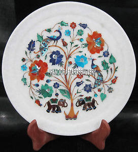 """12"""" Decorative Marble Home Decor Plate Mosaic Marquetry Work Arts Inlaid H3339A"""