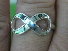 100% REAL 925 sterling silver PAUA SHELL Infinity LUCKY Ring size 4.25 to 11.75