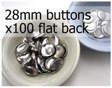 28mm self cover metal BUTTONS FLAT backs (sz 45) 100 QTY + FREE instructions