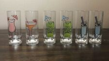 Tall Plastic Cocktail Themed Shot Glasses Set Of 6