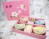 CERAMIC PINK CHINESE JAPANESE RICE SUSHI BOWLS CHOPSTICKS & CHOPSTICKS REST