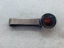 NE From Denmark Vintage Sterling Silver & Amber Modernist Tie Bar