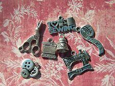 7 Sewing Charms THIMBLE Thread Scissors Machine TAPE Loose Pendants Silver fini.