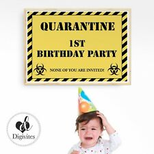 Quarantine Birthday Poster, Isolation Birthday, Birthday Banner, First Birthday