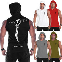 HOT Men's Hooded Hoodie Vest Tank Tops Sweatshirt Gym Muscle Sleeveless T-shirt