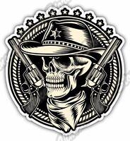 "Outlaw Skull Cowboy Revolver Gun Car Bumper Window Vinyl Sticker Decal 4.6"""
