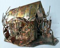 Vintage KTC Copper Metal Mill Music Box Plays Moon River Tall Hong Kong