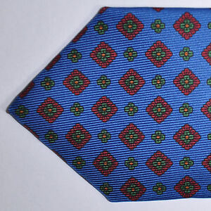 "100% New E. Marinella Tie Royal Blue 3 3/4"" Wide Silk Necktie GENUINE 170791"
