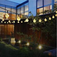 Solar Bulb String Lights 50/100 LED Warm White Crystal Ball Party Garden Fairy