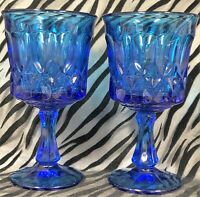 2 Noritake PERSPECTIVE-BLUE Pressed Glass Water Goblets 6 & 1/2 in.