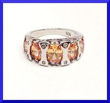 New 925 sterling Silver Citrine Five Stone Ring Size 7 FREE SHIPPING # 227