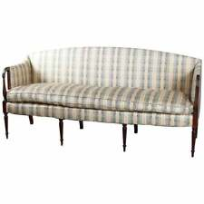 Antique Sheraton Carved Mahogany Upholstered Sofa with Down Cushion 19th Century