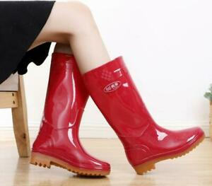 Galoshes Womens PVC Rubber Rain Boots Pull On Garden Workwear Casual Boots Shoes