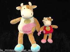 Doudou & Compagnie Vache Cerise maman et son bébé 33cm blanche rose bleue marron