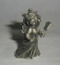 Small Pewter Figurine dated 1981 ~ Miss Piggy in an Evening Dress holding Mirror
