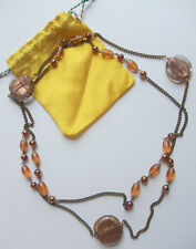 Bronze Tone Long Necklace Beads Chain Dichronic Glass Bead String Strand Jewelry