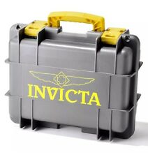 New Invicta 8 Eight Slot Grey/Yel Impact Resistant Dive Collector Watch Box Case