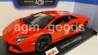 Maisto 1:18 Scale - Lamborghini Aventador - Orange - Diecast Model Car