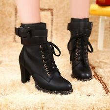Womens Ankle Riding Boots Lace Up High Heels Combat Buckle Round Toe Bootie Shoe