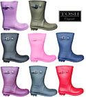 Short 3/4 Length Wellingtons Lightweight Womens Calf Wellies Buckle Boots UK 3-9