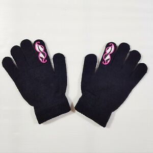 New Claire's Kids Girls Boys Gloves Black with Mustage Winter Warm