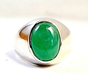 New 925 Sterling Silver Fine quality Natural  Emerald Cabochon men's Ring