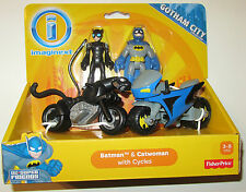 Imaginext DC Super Friends BATMAN & CATWOMAN WITH  CYCLES ~ Gotham City