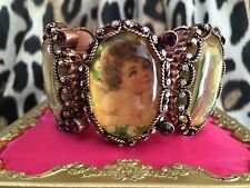 Betsey Johnson Vintage Peacock Cupid Angel Cherub Lamb Picture Cameo Bracelet