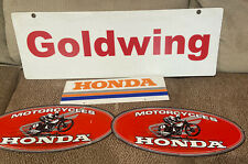 HONDA ORIGINAL 1980's-90 KY DEALERSHIP SIGNS W/GOLDWING PROMO~TIN MOTORCYCLES NR