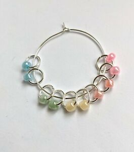 Set of 10 glass seed bead stitch markers rainbow colours handmade for knitting