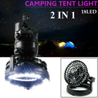 2 In 1 Portable Camping LED Light Outdoor Equipment W/ Ceiling Fan Tent Lamp