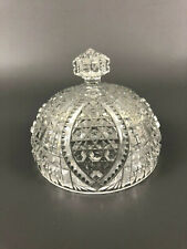 Antique Higbee Glass Co. clear pressed butter dish cover FORTUNA, Perkins 1890s