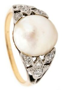 EDWARDIAN 1910 PLATINUM & 18 KT GOLD RING WITH NATURAL 11 MM PEARL AND DIAMONDS