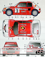 STUDIO 27 PEUGEOT 205 T16 #3 BELGA 24Hrs YPRES RALLY 1985 DECAL for TAMIYA 1/24