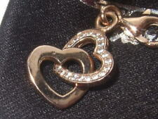 New Thomas Sabo rose gold plated silver zirconia double heart charm RRP £69