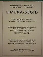 12/62 PUB OMERA SEGID VHF UHF RADAR CAMERA PHOTOGRAPHIE AERIENNE RADIOPHARE AD