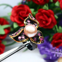 NATURAL 10 mm. ROUND CREAMY PINK PEARL & PINK RUBY RING 925 STERLING SILVER