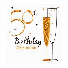50th Birthday party invitation cards, Inc. envelopes. 6 Pack Simon Elvin Qlty
